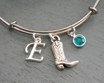Cowgirl Bracelet, Personalized Cowgirl Bangle, Cowgirl Boot, Letter Birthstone, Silver Cowgirl Bracelet, Country Girl Gift, Cowgirl Gifts