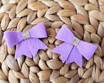 Felt Bow Hairclip Set - Lilac