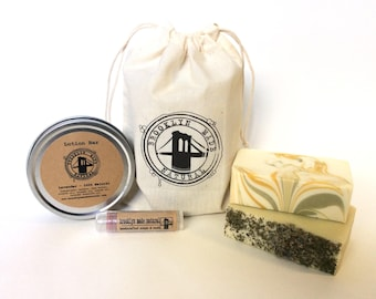 Gift box, 4 items in a gift bag, gift for mom, soap, gift for women, Lotion bar and lip balm set, natural lotion, natural lip balm, brooklyn