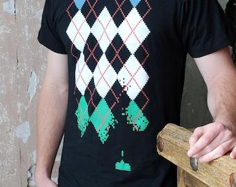 Sale - Retro Video Game Shirt - Argyle Shirt - Men's T-shirt - Gamer Tshirt - Gamer Gifts - Men's Graphic Tee
