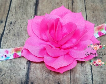 Hot Pink Lotus Flower Headband, Baby Headband, Pink Flower Headband, Infant Headband