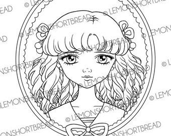 Digital Stamp Sailor Victorian Girl, Digi Download, Coloring Page, Anime Fashion, Gothic Lolita, Clip Art, Scrapbooking Supplies
