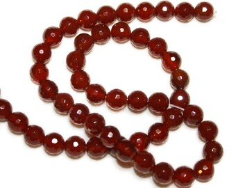 Carnelian faceted rounds.  Select a size:  6mm, 8mm