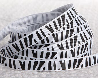 2 M Ruban grosgrain Ribbon 10 mm Zebra white / black Noël Couture ♥