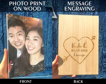 5th Anniversary Gift|Wood Anniversary Gift|Personalized Wood Photo|Wedding Gift|Fifth Anniversary Gift|Engagement Gift|Important Dates|GIFT
