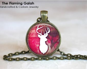 WHITE STAG Pendant • Boho Deer • Bohemian Stag • Pink Boho • Boho Stag • Reindeer • Necklace • Gift Under 20 • Made in Australia (P1552)