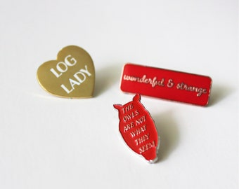 """DEAL 3 pack Log Lady, owls are not what they seem, wonderful strange // Twin Peaks inspired // 1.5"""" hard soft enamel red"""