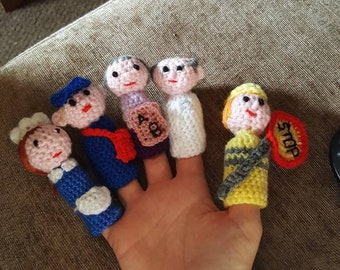 people who help us finger puppets crochet