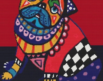 Modern Cross Stitch Kit 'Pug' By Heather Galler - Dog crossstitch