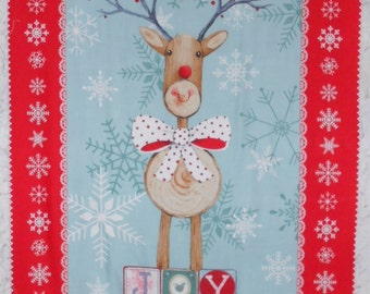 "Christmas/Reindeer Fabric Panel/Winter Wildlife/Animal Panel-peace, joy, love/wooden reindeer with polka dot bowtie/approx. 24"" x 43"" (#O64)"