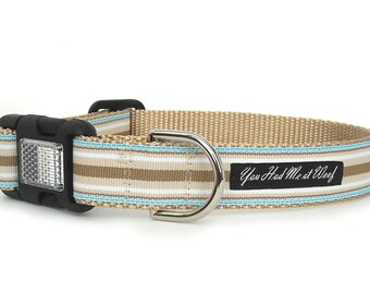 Striped Dog Collar, Light Blue and Tan, Preppy Dog Collar, Boy Dog Collar, Girl Dog Collar, 1 inch - Brentley