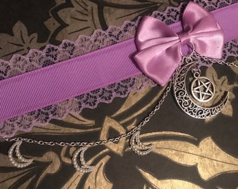 Purple Lace Choker with Bow, Pentagram Charm and Chains with Crescent Moons