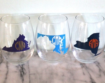 State Monogram Stemless Wine Glass - Support Your College or Favorite Pro Team!