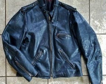 Vintage Leather Motorcycle Jacket 1960's Black