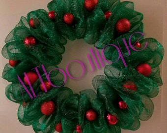 CLEARANCE WAS 35!!! Green Ruffle Wreath with red Ornaments, Christmas Wreath