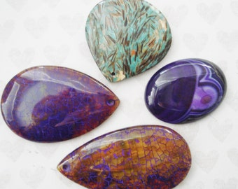 Assorted Czech Glass Cabochons - Extra Large Glass Cabochons - Teardrop Cabochons - 64mm Purple Cabochon - Green Gold 50 mm Plastic Cab