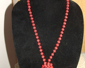 "NECKLACE Carved Beads GEOMETRIC Design, Double/Single Strand, Vintage 23"" Length (#536)"
