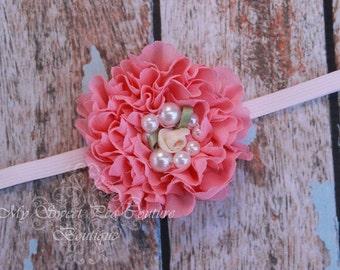 Salmon Pink Ruffle Chiffon Flower Headband- Pink Headband- Chiffon & Pearl Headband- Newborn Headband- Headband- Flower Girl- Photo Prop