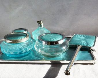 Art Deco Vanity Set, Vintage Aqua Blue Glass, Chrome and Glass Set, Teal Makeup Tray, Gift for Her, Mothers Day
