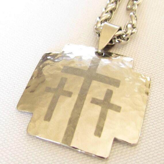 Silver Iron Calvary 3 Cross Pendant and Heavy Chain Hand Hammered Mens Boys Christian Jewelry - Saint Michaels Jewelry - Calvary Three Cross