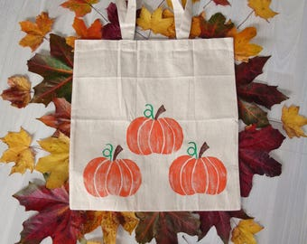 Pumpkin Tote Bag - Hand printed - 100% Recycled Cotton - Vegetable Tote - Gardening Gift