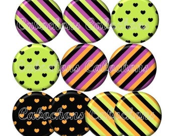 Set of 10 cabochons 12mm glass hearts, stripes, ref Lot125