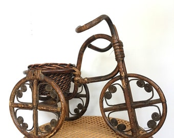 Bamboo Bicycle Plant Holder // Vintage