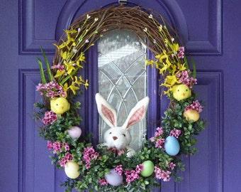 Easter Wreath,Easter Egg Wreath, Easter Bunny Wreath, Bunny and Chicks Wreath