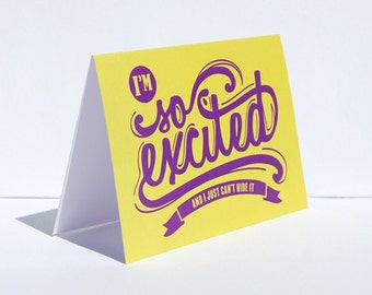 Announcement Card, I'm so excited and I just can't hide it greeting card, Yellow Purple Typography Pregnancy Reveal Card