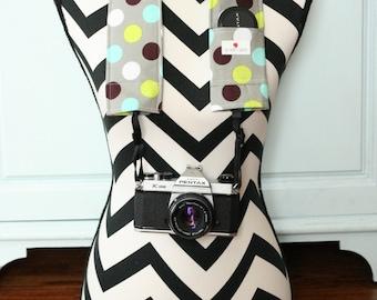 DSLR Camera Strap Cover- lens cap pocket and padding included- Splendid Dot