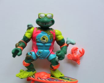 Vintage Teenage Mutant Ninja Turtles Sewer Surfer Mikey Michelangelo Action Figure 1990