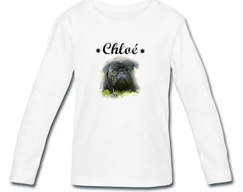 Girl long sleeve personalized with name Pug t-shirt