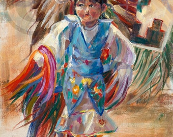 Tiny Dancer Oil Painting Canvas Print Native American Child Action Western  Art Interior Design Cowboy Indian