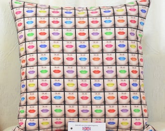 """Vogue Lips Cushion Cover 17""""x17"""" (43cm sq.) Red Pink Lime Blue Digitally Printed 100% Cotton"""