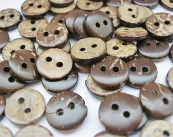 "25 Small Coconut Shell Buttons 10mm (3/8"" inch) Small Brown Ladies Mens Shirt Sewing Buttons, Clothing Accessories"