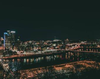 Digital Download Wall Art Downtown Pittsburgh Nighttime Print