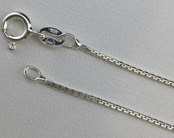 For Your Pendant....Italian .925 Sterling Silver Chain: BOX (1mm)