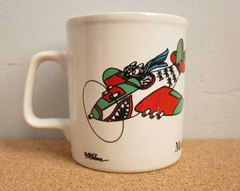 Vintage B. Kliban Cat Mouserschmidt WW2 Fighter Pilot Coffee Mug Cup - Hard to Find Collectible Kiln Craft England Cat Coffee Cup