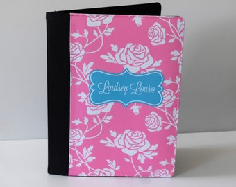 Canvas Padfolio shown Personalized in a lace rose print