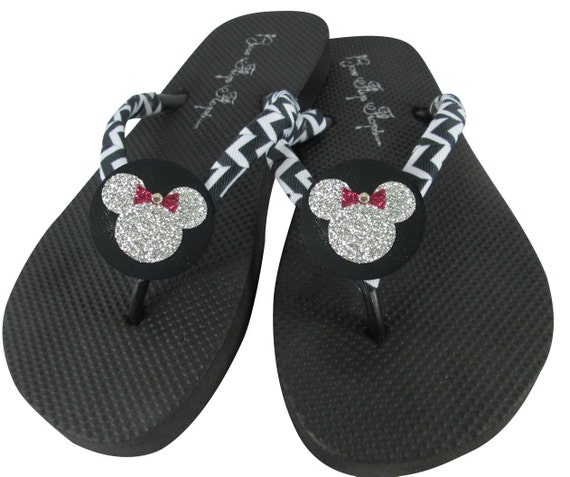 Children Silver Flops or Ladies Minnie Mouse Girls amp; Red for Glitter Vacation for Flip Disney Button 4xw5zB0