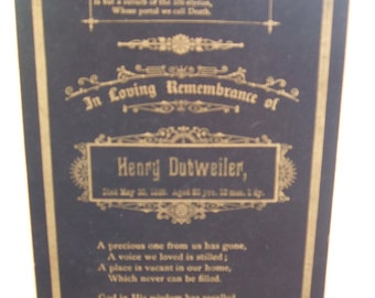 Memorial Mourning Card