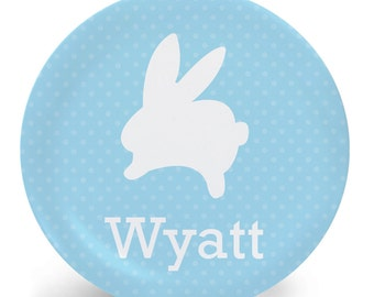 Easter Plate - White Rabbit on Blue Child's Plate - Child's Bowl - Melamine Bowl or Plate Personalized (Plastic)