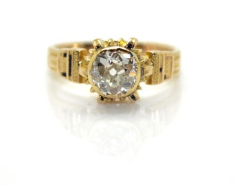 Vintage yellow gold ring and diamond