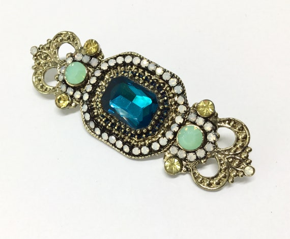 Wedding Sash Brooch Pin/Blue Center Stone/Opalescent Crystals Rhinestones/Vintage Inspired/Sash/Bridal Bouquet/Dainty/DIY Crafts/Bar Pin