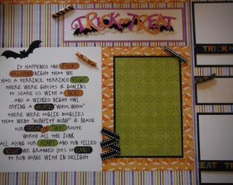 Halloween Trick or Treat Vampire  Premade  12x12 Scrapbook Pages for your FAMILY  Boy GIRL Jolees