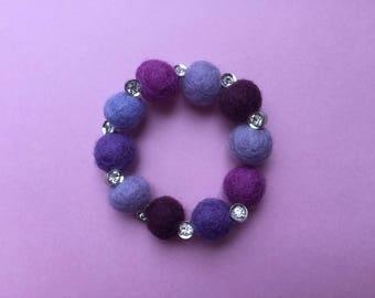 Felt bead bracelet, lilac felt bracelet, sparkly bracelet, stretch bracelet, purple bracelet, pink bracelet, felt jewelry, purple bracelet