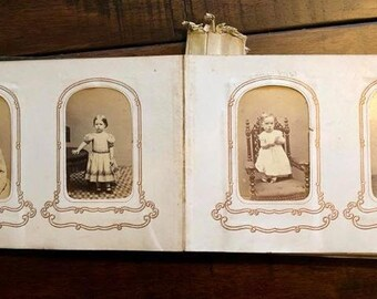 1860s Photo Album + (66) CDVs and Tintypes - Boston & NH - Many Civil War Tax Stamps