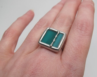 Twisted Teal - Sterling Silver Stained Glass Ring - Size 7.5