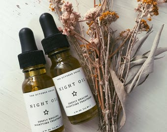 NIGHT OIL - Back In Stock! Organic Facial Oil. Deeply Healing. Therapeutic NightTime Treatment. Benefits All Skin Types.