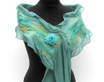 Nuno Felted Silk and Merino Scarf Hand Dyed Green, Gold